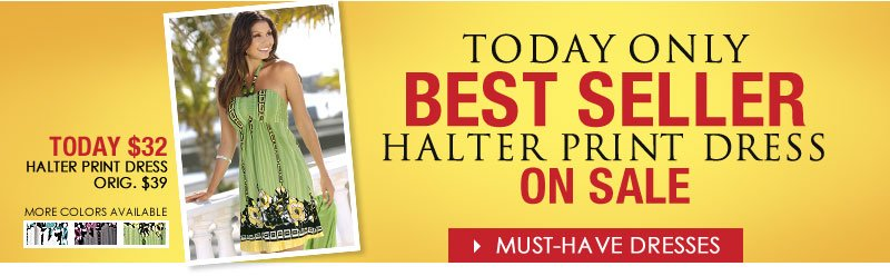 TODAY ONLY! Best Selling Halter Print Dress ON SALE! Shop Must-Have Dresses NOW!