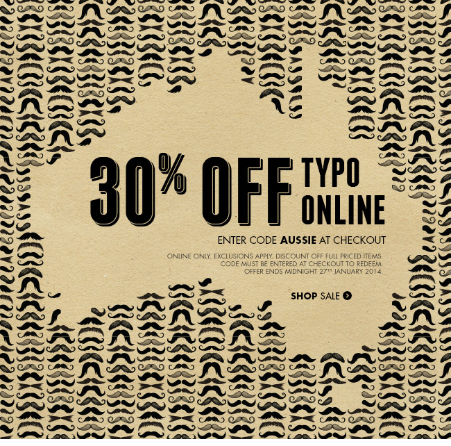 30% off Typo online this Australia Day!