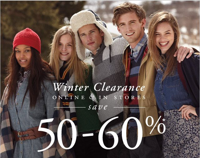 WINTER CLEARANCE - ONLINE AND IN STORES