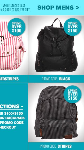 Shop Mens Choose Your Free Backpack
