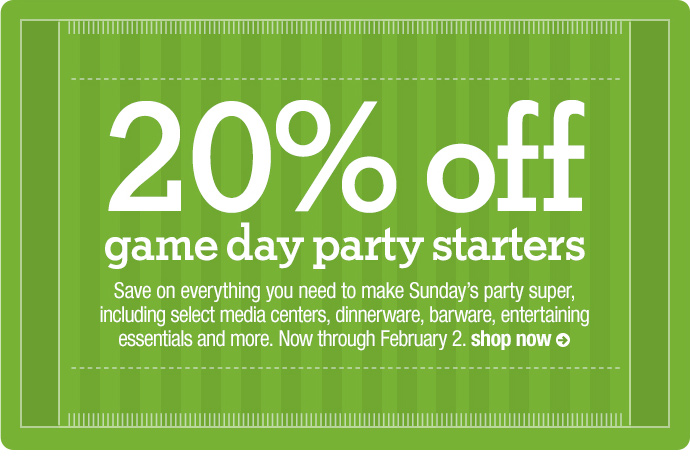 20% off game day party starters
