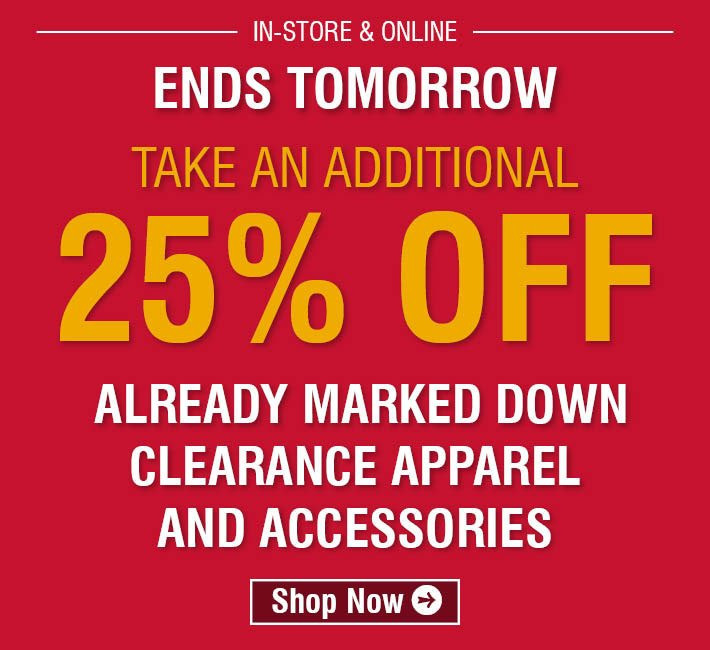 Take An Additional 25% Off Already Marked Down Clearance Apparel and Accessories