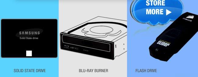 HDD, SSD, Blu-Ray, Flash