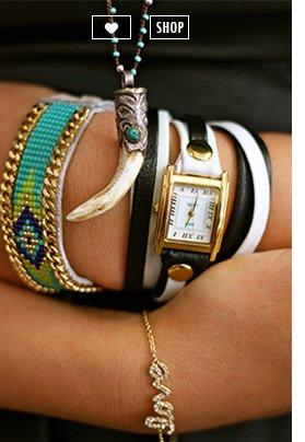 White-Black/Gold Mixed Layer Wrap Watch
