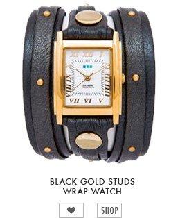 Black Gold Studs Wrap Watch