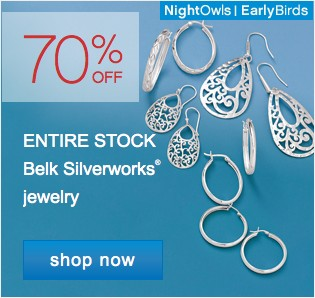 70% off entire stock Belk silverworks jewelry. Shop now.