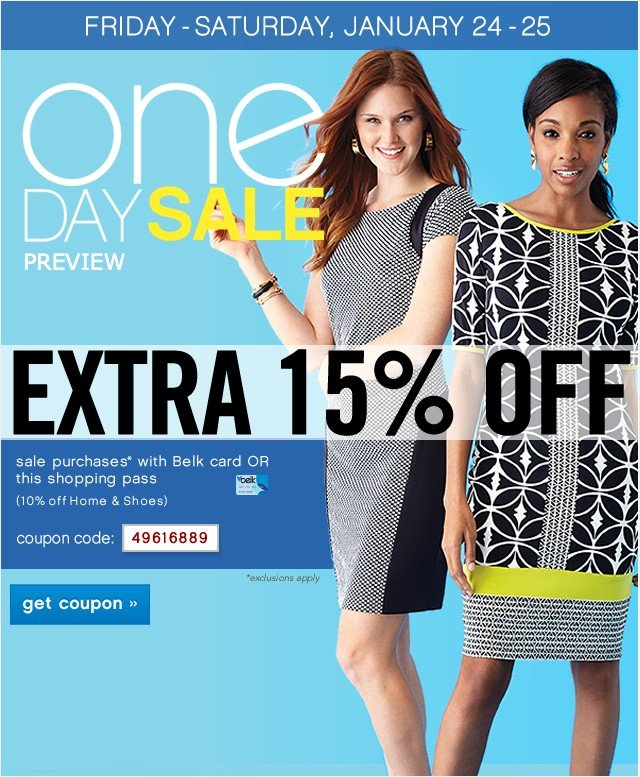One Day Sale Preview. Extra 15% off. Get coupon.