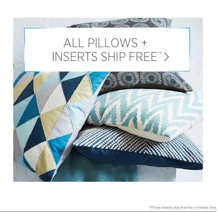 All Pillows + Inserts Ship Free**