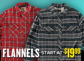 Flannels start at $19.99.