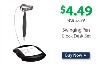Swinging Pen Clock Desk Set