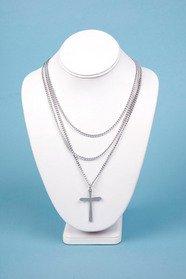 Triple Chain Cross Necklace 10
