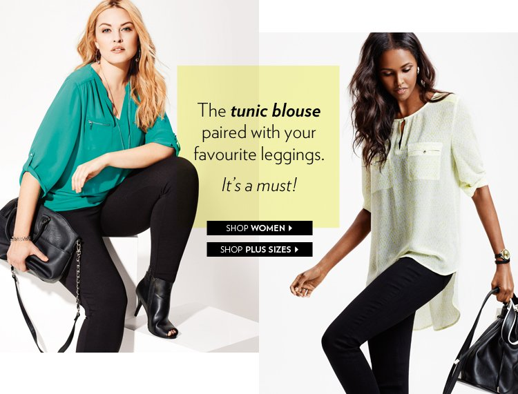 The tunic blouse paired with your favourite leggings. It's a must!