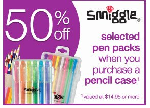 Smiggle - 50% off selected pen packs when you purchase a pencil case valued at $14.95 or more.