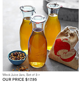Weck Juice Jars, Set of 3  - OUR PRICE $17.95