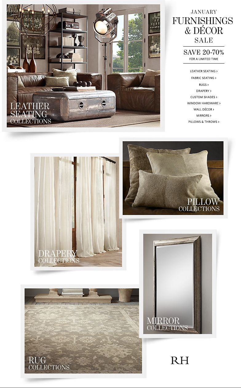 January Furnishings and Decor Sale. Save 20-70% For a Limited Time.