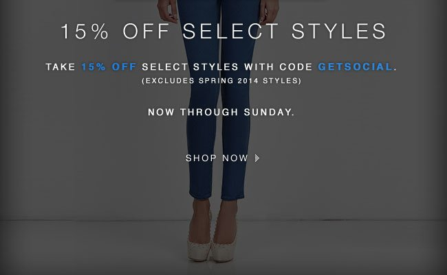 Shop 15% Off Select Styles