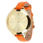 Michael Kors MK2275 Women's Slim Runway Gold Tone Dial Orange Leather Strap Watch