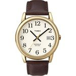 Timex T2N369 Men's Easy Reader Brown Leather Strap Gold Tone Stainless Steel White Dial Watch