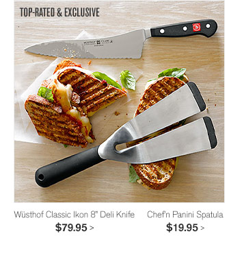 "TOP-RATED & EXCLUSIVE - Wüsthof Classic Ikon 8"" Deli Knife - $79.95 - Chef'n Panini Spatula - $19.95"