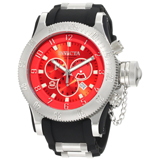 Invicta 10135 Men's Russian Diver Red Sunray Dial Black Rubber Strap Stainless Steel Chronograph Dive Watch