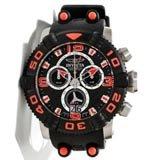 Invicta 12257 Men's Sea Hunter II Red Accent Bezel Black Dial Rubber Strap Chronograph Dive Watch