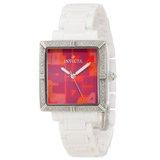 Invicta 10267 Women's Classique Ceramics White Square Red Dial Diamond Watch