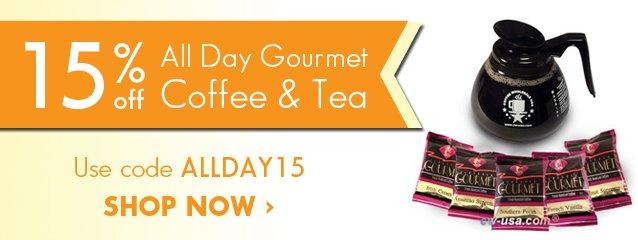 Expiring: Take 15% off All Day Gourmet Coffee- coupon ALLDAY15