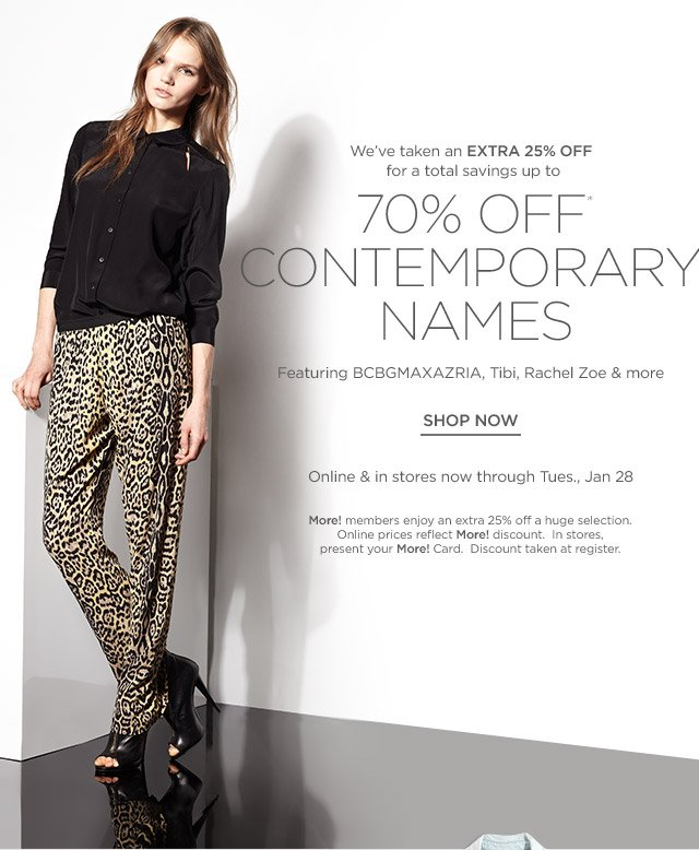 Up to 70% off Contemporary names