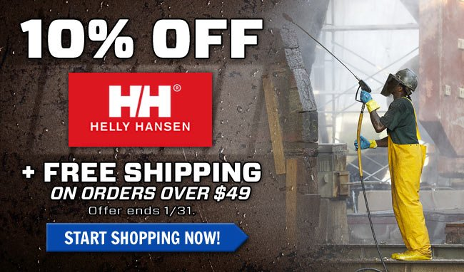 Get 10% OFF All Helly Hansen Workwear & Outerwear + FREE Shipping!