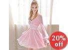 Lace-Trim Chiffon Dress