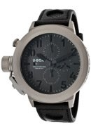 Men's Flightdeck Automatic/Mechanical Chronograph Grey/Luminous Dial Black Genuine Leather