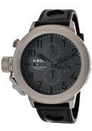 Men's Flightdeck Automatic/Mechanical Chronograph Grey/Luminous Dial Black Genuine Leather