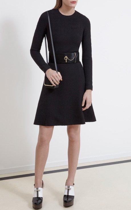Seersucker Wool Long Sleeve Dress