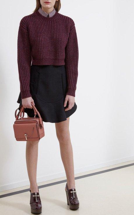 Black Compact Wool Skirt