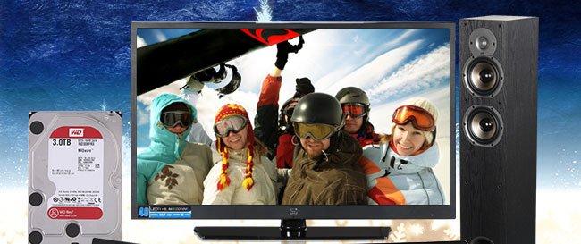 "menu:         40"" 1080p 120Hz LED-LCD TV, Western Digital 3TB Internal Hard Drive"