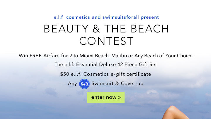 e.l.f . Cosmetics and Swimsuits For All Present: Beauty & The Beach Contest Enter Now!
