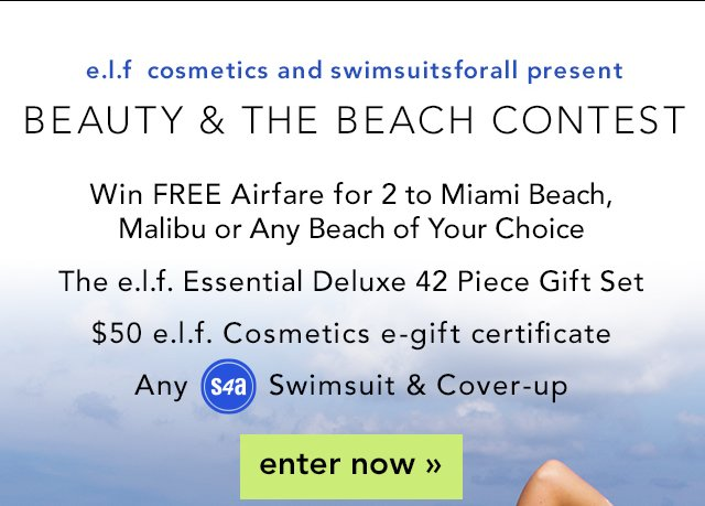 e.l.f. Cosmetics and Swimsuits For All Present: Beauty & The Beach Contest Enter Now!