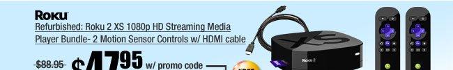Refurbished: Roku 2 XS 1080p HD Streaming Media Player Bundle- 2 Motion Sensor Controls w/ HDMI cable