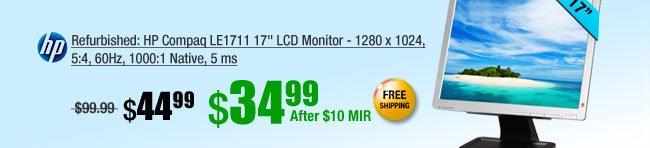 """HP Compaq LE1711 17"""" LCD Monitor - 1280 x 1024, 5:4, 60Hz, 1000:1 Native, 5 ms"""