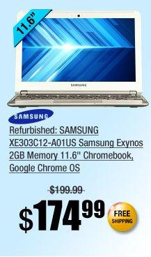 """Refurbished: SAMSUNG XE303C12-A01US Samsung Exynos 2GB Memory 11.6"""" Chromebook, Google Chrome OS"""