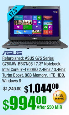 "Refurbished: ASUS G75 Series G750JW-BBI7N05 17.3"" Notebook, Intel Core i7-4700HQ 2.4Ghz / 3.4Ghz Turbo Boost, 8GB Memory, 1TB HDD, Windows 8"