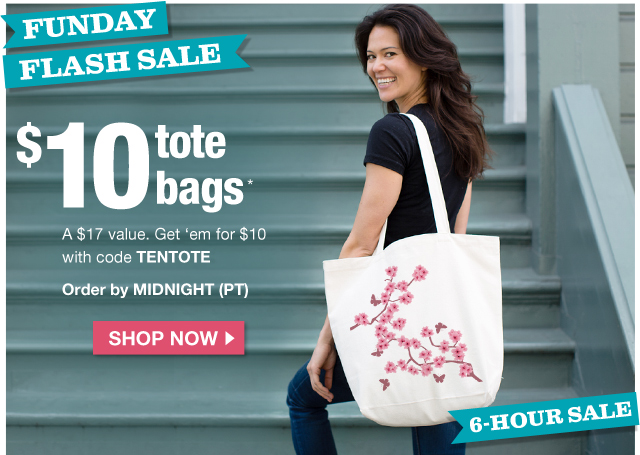 $10 Canvas Tote Bags with code TENTOTE