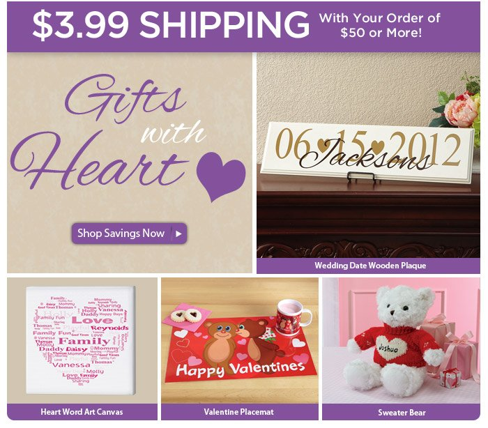 Gifts with Heart plus $3.99 Shipping