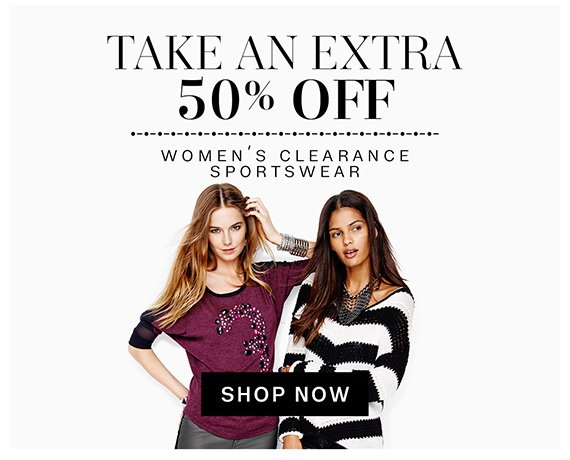 Take an extra 50% off women's clearance sportswear. Shop Now