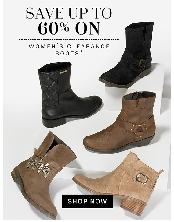 Save up to 60% on women's clearance boots*. Shop Now