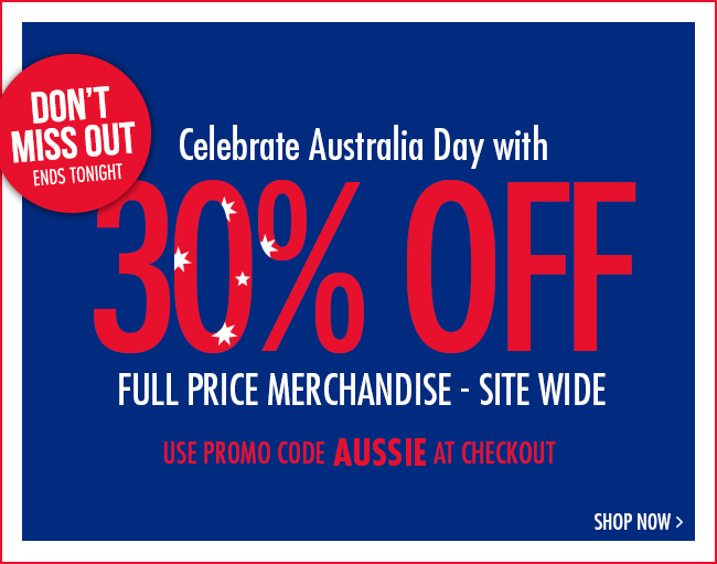 Celebrate Australia Day with 30% off!