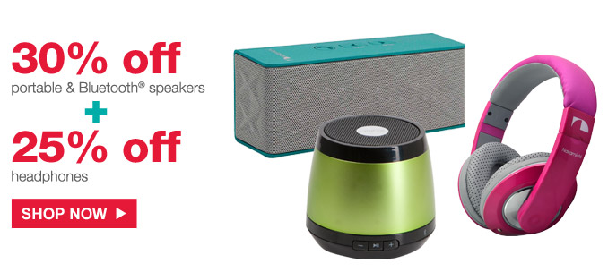 30% off portable & Bluetooth® speakers + 25% off headphones | Shop Now