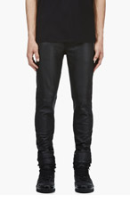 GIVENCHY Black Buffed Leather Trousers for men