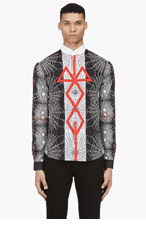 MCQ ALEXANDER MCQUEEN Black, White & Red Print Button-Down Shirt for men
