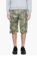 VERSUS Green LEAVES Print Cargo shorts for men
